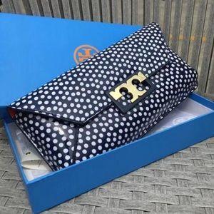 def4fa1ab62e Tory Burch Bags - Tory Burch Gigi Polka Dot Blue Patent Clutch